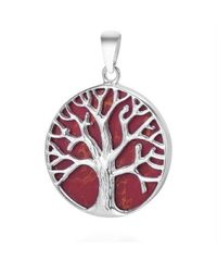 Aeravida | Metallic Mystical Tree Of Life Red Coral Inlay .925 Sterling Silver | Lyst