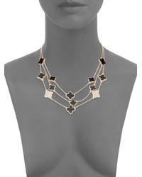 Saks Fifth Avenue - Black Three-row Quatrefoil Necklace - Lyst