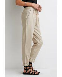 Forever 21 - Natural Linen-blend Capri Pants - Lyst