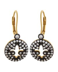 Freida Rothman | Metallic Open Fleur-de-lis Round Pave Earrings | Lyst