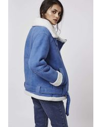 TOPSHOP | Blue Real Shearling Biker Jacket | Lyst