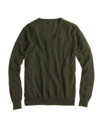 J.Crew | Green Italian Cashmere V-neck Sweater for Men | Lyst