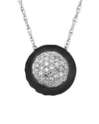 Lord & Taylor - Metallic Black Rhodium And Diamond-accented Pendant In Sterling Silver - Lyst