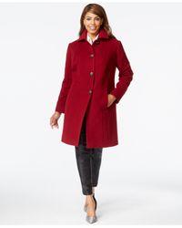 Anne Klein - Red Plus Size Wool-cashmere Walker Coat - Lyst