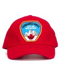 DSquared² - Red Logo Baseball Cap for Men - Lyst