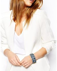Orelia - Blue Embellished Leather Cuff Bracelet - Lyst