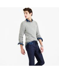 J.Crew | Gray Slim Softspun Sweater In Ditty Stripe for Men | Lyst