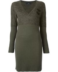 DIESEL - Green Fitted Sweater Dress - Lyst