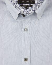 Ted Baker | Blue Striped Satin Shirt for Men | Lyst
