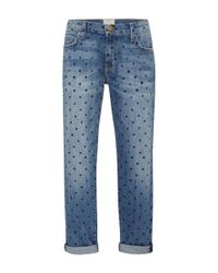 Current/Elliott - Blue The Fling Polka Dot Jeans - Lyst