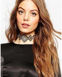 ASOS | Metallic Embellished Choker Necklace | Lyst