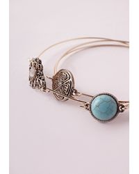 Missguided | Blue Charm Bracelet Three-Pack Set Gold | Lyst