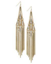 BCBGeneration | Metallic Gold-tone Crystal Long Fringe Drop Earrings | Lyst