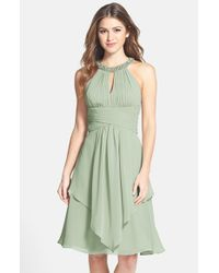 Eliza J | Blue Embellished Neck Layered Chiffon Fit & Flare Dress | Lyst