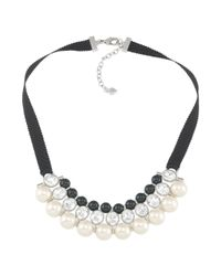Carolee | Black Crystal and Bead Ribbon Necklace | Lyst