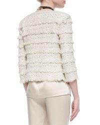 St. John - Natural Metallic Eyelash Fringed Knit Jacket - Lyst