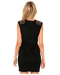 Missguided   Alysha Embellished Shoulder Mini Dress in Black   Lyst