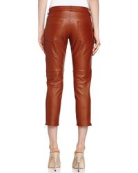 Michael Kors - Red Plonge Leather Capri Pants - Lyst