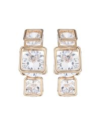 Mikey | White Triple Square Cubic Drop Earring | Lyst