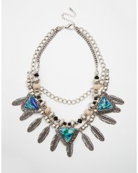 ASOS | Blue Feathered Collar Necklace With Semi Precious Stones | Lyst