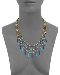 Giles & Brother - Blue Multi Strand Tube Bead Necklace - Lyst
