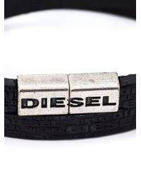 DIESEL - Black Logo Double Wrap Bracelet for Men - Lyst