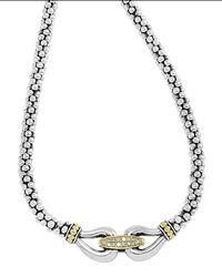 Lagos - Metallic Silver & 18k Gold Derby Diamond Necklace - Lyst