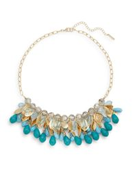 Saks Fifth Avenue - Blue Beaded Hammered Disc Collar Necklace - Lyst