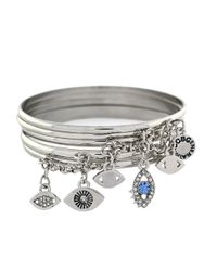 BCBGeneration | Metallic Chained To My Heart Evil Eye Bangle Bracelet Set - Silvertone | Lyst