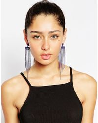 Lipsy | Purple Statement Fringe Earrings | Lyst