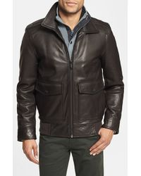 Vince Camuto | Brown Leather Bomber Jacket for Men | Lyst
