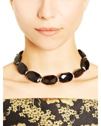 Oscar de la Renta | Black Glass Crystal Necklace | Lyst