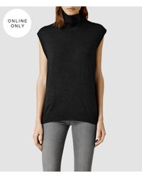 AllSaints | Black Alna Funnel Neck | Lyst