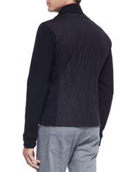 Ermenegildo Zegna - Black Suede-front Quilted Jacket for Men - Lyst