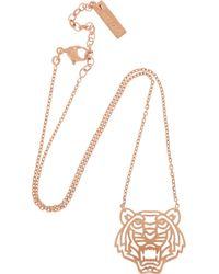 KENZO - Pink Tiger Rose Goldplated Cubic Zirconia Necklace - Lyst
