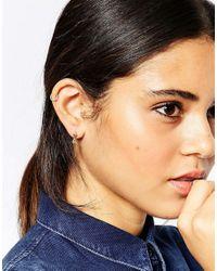 ASOS | Metallic Mini Fan Mismatch Swing & Spike Earrings | Lyst