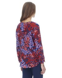 Rebecca Taylor Purple Flame Of The Forest Print Tie Neck Top