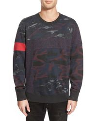 DIESEL | Blue 'heizo' Mixed Camo Print Crewneck Sweatshirt for Men | Lyst
