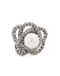 Oscar de la Renta | Metallic Crystal & Glass Pearl Ring - Crystal/silver | Lyst