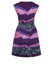 Peter Pilotto - Purple Printed Silk Chiffon-paneled Crepe Dress - Lyst