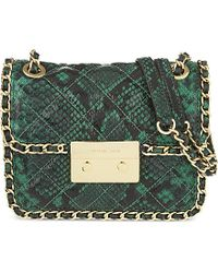 MICHAEL Michael Kors | Green Carine Medium Snake-effect Leather Shoulder Bag | Lyst