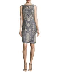 Sue Wong - Gray Floral Embroidered Beaded Sheath Dress - Lyst