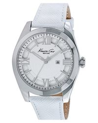 Kenneth Cole - Metallic Textured Dial Leather Strap Watch - Lyst