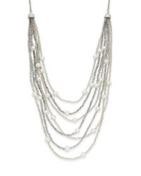 Saks Fifth Avenue | Metallic Beaded Simulated Pearl Multi-row Necklace | Lyst