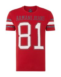 Armani Jeans | Red T-shirt for Men | Lyst