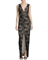Alice + Olivia - Multicolor Caragen Lace Gown W/ Center Slit - Lyst
