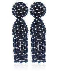 Oscar de la Renta - Blue Polka Dot Tassel Clipon Earrings - Lyst