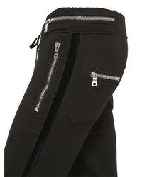 Balmain | Black Cotton Jogging Pants With Velvet Piping | Lyst