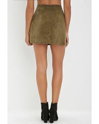 Forever 21 - Green Genuine Suede Buttoned Skirt - Lyst