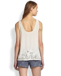 Joie - White Maurizia Embroidered Cutout Silk Tank Top - Lyst